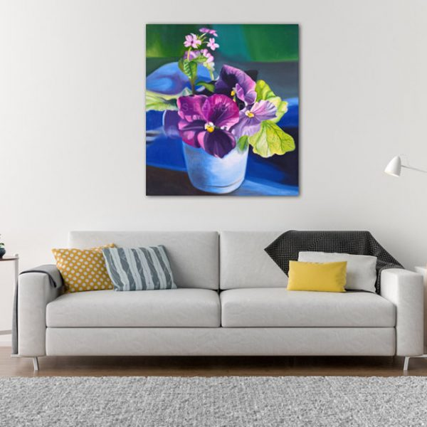 Acrylbild auf Leinwand Lila Blumen