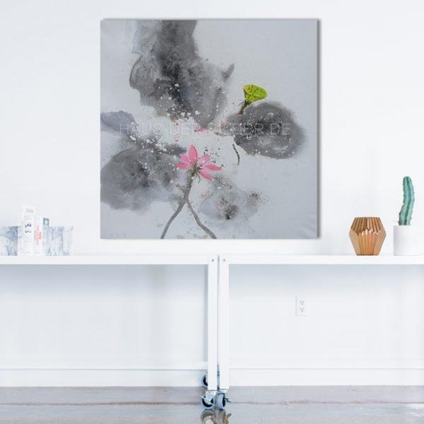 Leinwandbild Abstrakt Grau Grün