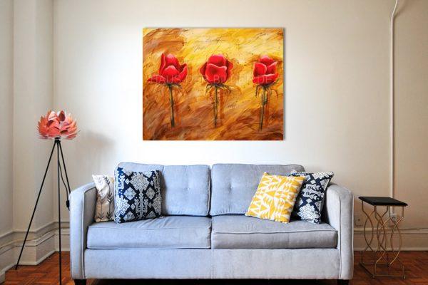 Acrylbild auf Leinwand Rosen