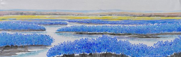 Blaue Landschaft Leinwandbild