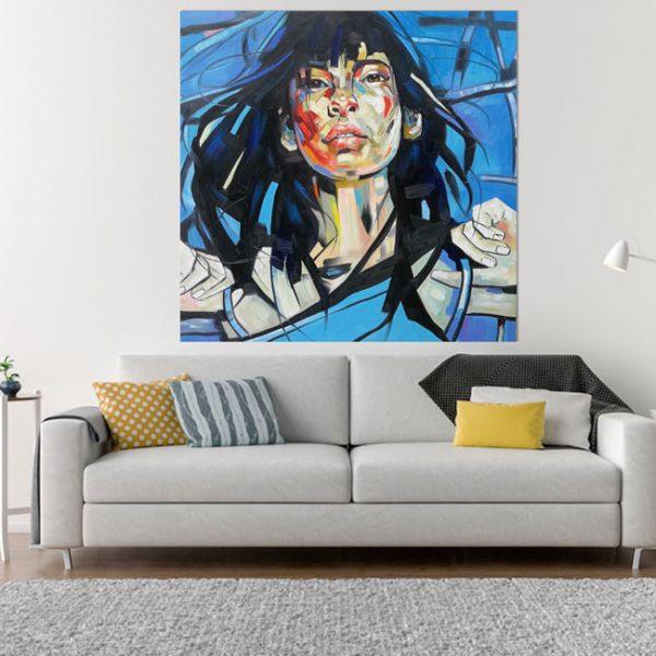 Abstraktes Portrait auf Leinwand bei Haus der Bilder