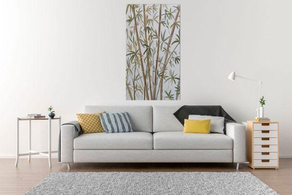 Weißes Bambusbild Leinwand