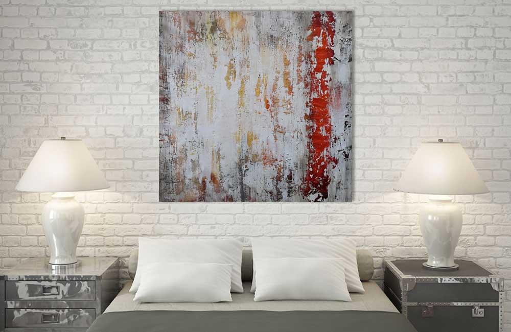 Leinwandbild Schlafzimmer Rot Grau