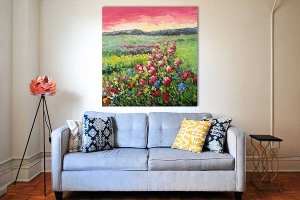 Abstraktes Leinwandbild Wohnzimmer Cavaretto Italien Rot