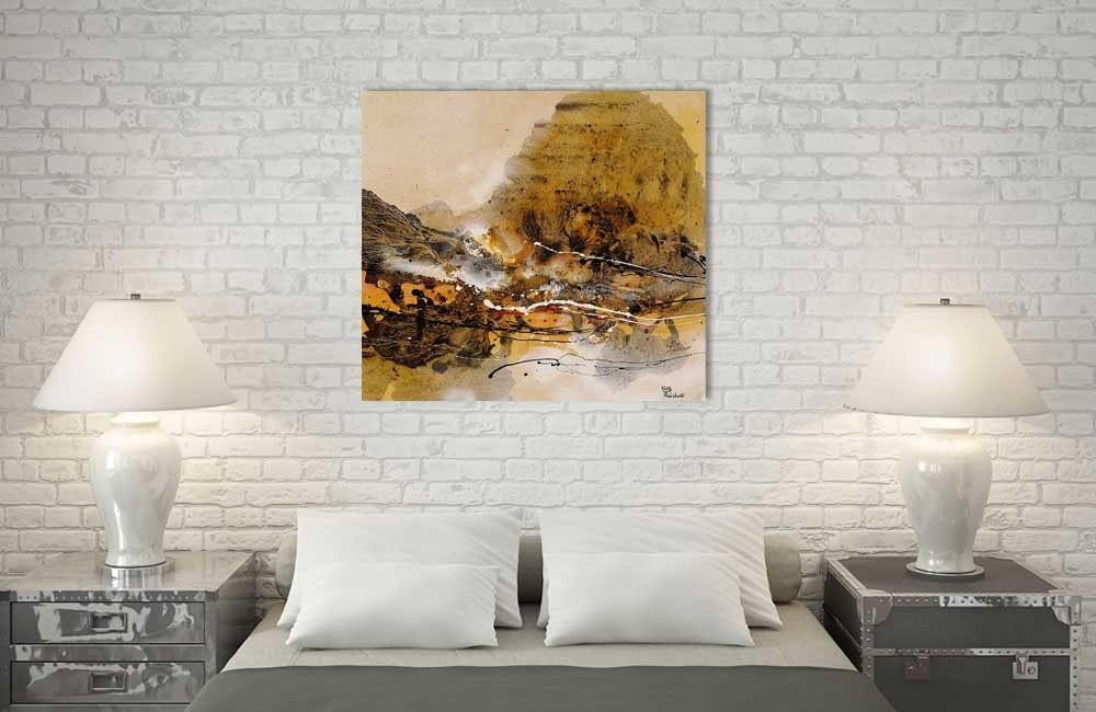 Rheinbold Wellen Orange Leinwand Acryl Schlafzimmer