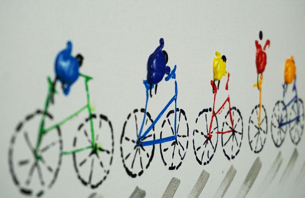 Biking Pointers im Detail auf Leinwand