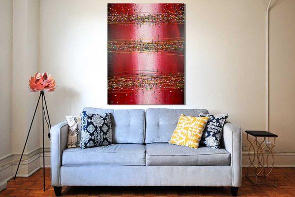 Handgemaltes Acrylbild der Pointers im Wohnzimmer